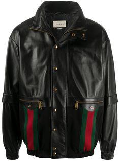 Gucci куртка-бомбер с отделкой Web
