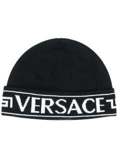Versace шапка бини с жаккардовым логотипом