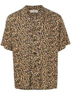 Saint Laurent рубашка с леопардовым принтом