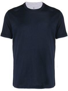 Brunello Cucinelli футболка с контрастной отделкой