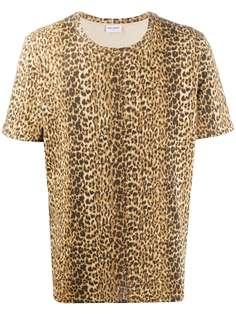 Saint Laurent футболка с леопардовым принтом