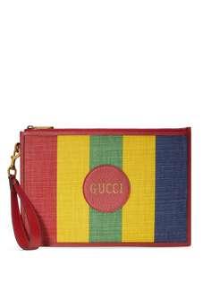 Gucci полосатый клатч с логотипом