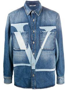 Valentino джинсовая куртка с логотипом VLogo