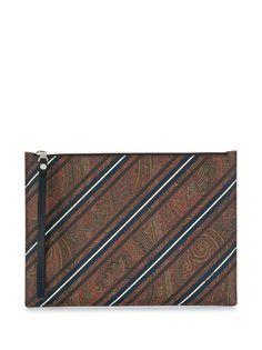 Etro полосатый клатч с принтом пейсли