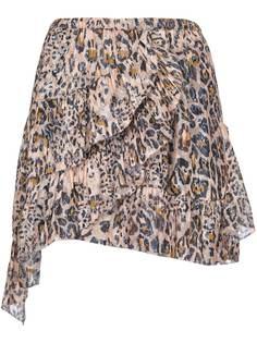 Pinko юбка миди с леопардовым принтом