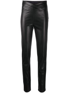 Patrizia Pepe узкие брюки из искусственной кожи с запахом на талии