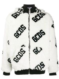 Gcds куртка из искусственного меха с капюшоном и логотипом