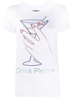 Philipp Plein футболка Neon Drink со стразами