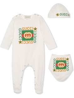 Gucci Kids комплект из комбинезона, шапки и нагрудника