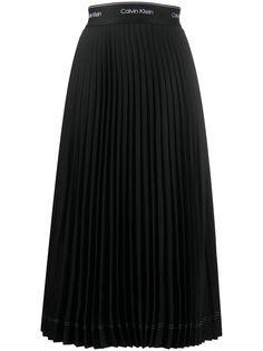 Calvin Klein плиссированная юбка с логотипом на поясе