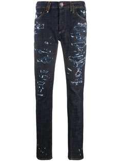 Philipp Plein прямые джинсы с эффектом потертости