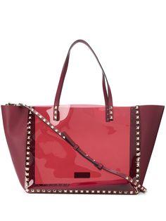 Valentino Garavani сумка-тоут Rockstud с прозрачной вставкой