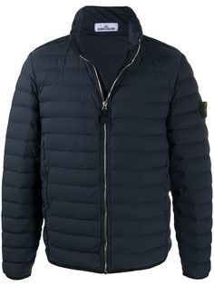 Stone Island padded feather down jacket with logo patch at sleeve