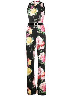 Philipp Plein комбинезон Selene с широкими брюками и цветочным принтом