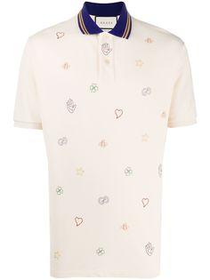 Gucci рубашка поло с вышивкой