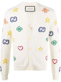 Gucci кардиган Symbols вязки интарсия