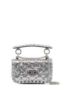 Valentino Garavani мини-сумка Rockstud Spike с блестками