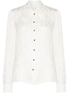 Dolce & Gabbana блузка с завязками на воротнике и логотипом
