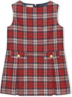Gucci Kids платье в клетку с логотипом Square G