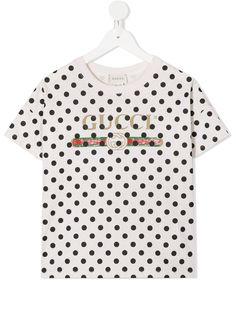 Gucci Kids футболка в горох с логотипом