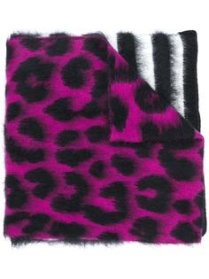 Nº21 шарф в полоску с леопардовым принтом