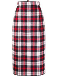 Thom Browne юбка в клетку с завышенной талией