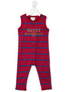 Gucci Kids ромпер в полоску с логотипом