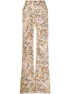 Etro расклешенные джинсы с цветочным принтом