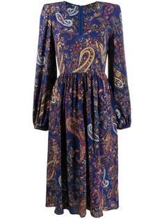 Etro платье со сборками и принтом пейсли