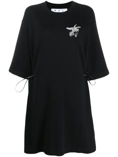 Off-White EMBR BIRDS REFLECT COUL DRESS BLACK GREY
