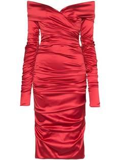 Dolce & Gabbana атласное платье миди со сборками