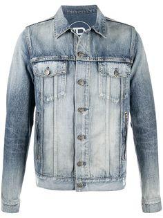 Balmain джинсовая куртка с эффектом потертости и логотипом