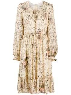 Etro расклешенное платье с цветочным принтом