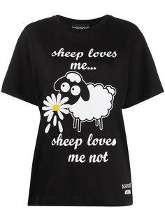 Boutique Moschino футболка с цветочным принтом и надписью