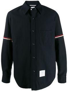 Thom Browne бархатная куртка-рубашка с полосками RWB