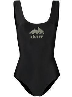 Stussy купальник с логотипом и открытой спиной