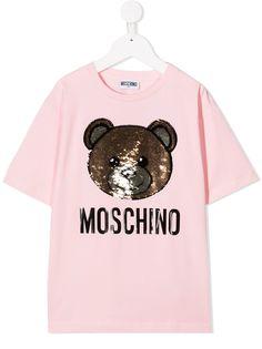 Moschino Kids футболка Toy Bear с пайетками