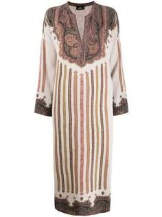 Etro трикотажное платье миди с узором пейсли