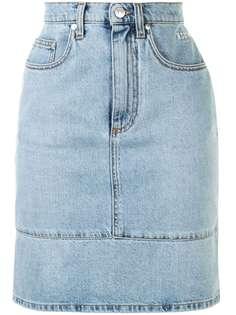 MSGM джинсовая юбка с завышенной талией и вставками