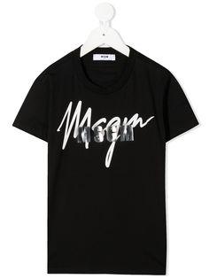 Msgm Kids футболка с логотипом металлик