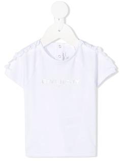 Givenchy Kids футболка с логотипом металлик и оборками