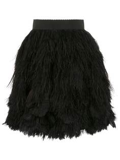Dolce & Gabbana юбка мини с перьями