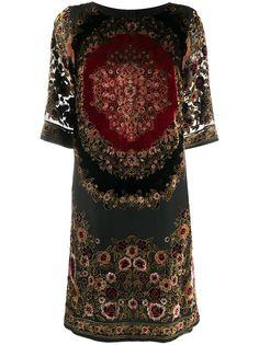 Etro платье-трапеция с цветочной вышивкой