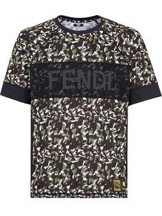 Fendi футболка с сетчатой вставкой и логотипом