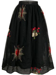 Simone Rocha юбка миди с цветочной вышивкой