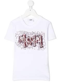 Msgm Kids футболка с логотипом и пайетками