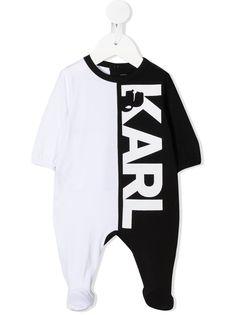 Karl Lagerfeld Kids ромпер в стиле колор-блок с логотипом