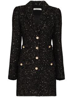 Alessandra Rich твидовое платье мини с эффектом металлик