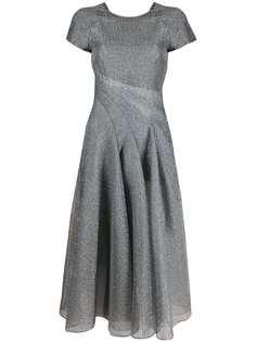 Emporio Armani расклешенное платье миди с эффектом металлик