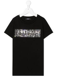 Balmain Kids футболка с декорированным логотипом